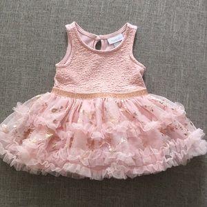 Baby Girls Sleeveless Metallic Top tutu dress